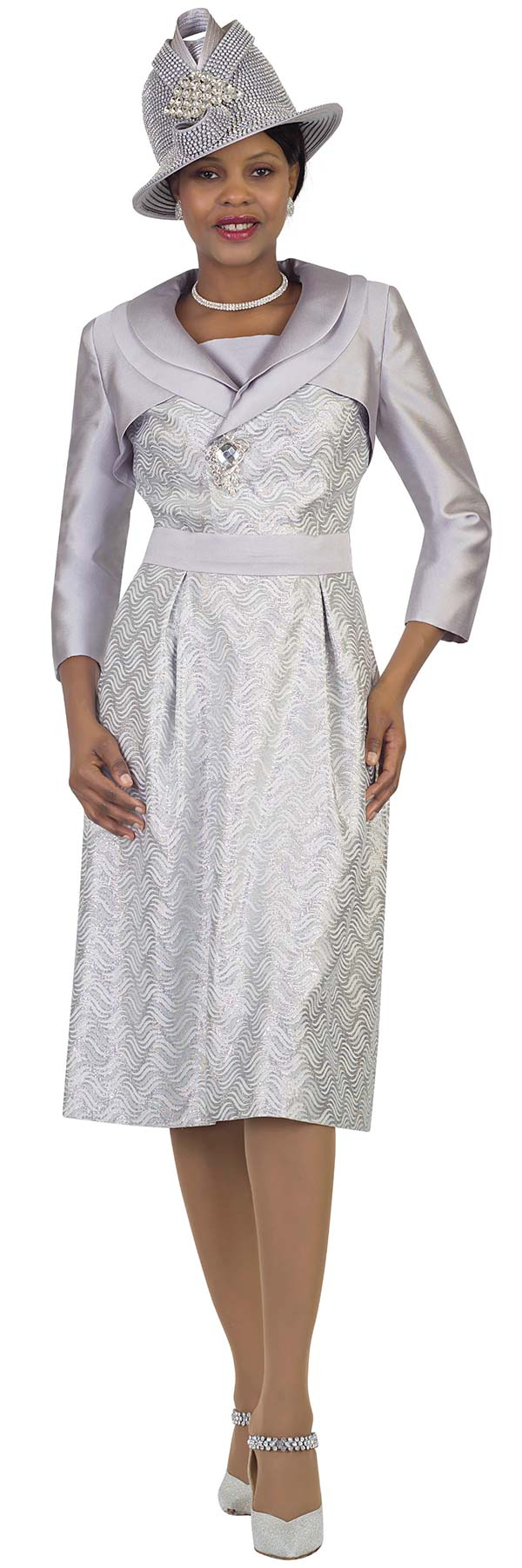 Lily and Taylor 4506 - Church Dress With Layered Shawl Lapels And Wavy Pattern Design
