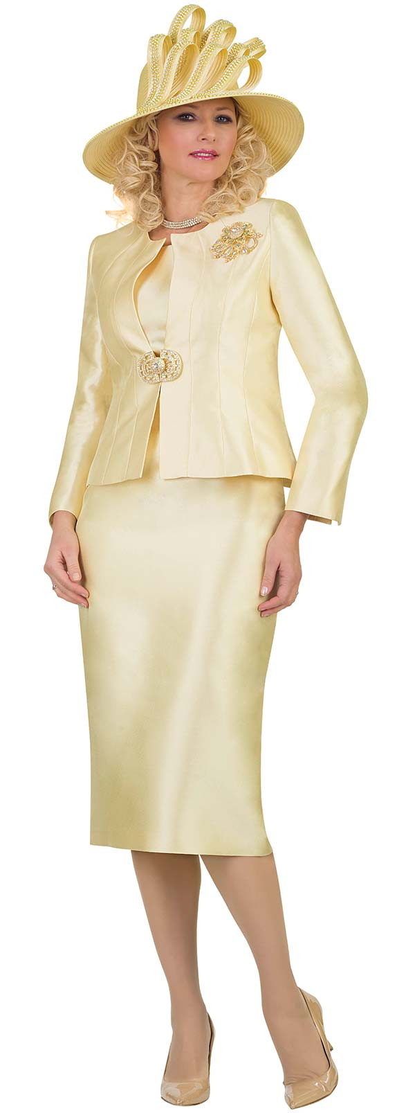 Lily and Taylor 4514-Canary - Silky Twill Womens Three Piece Church Suit With Brooch