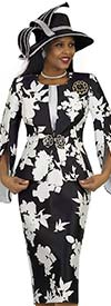 Lily and Taylor 4515 -  Silky Twill Womens Church Suit With Split Bell Sleeves In Flower Pattern Design