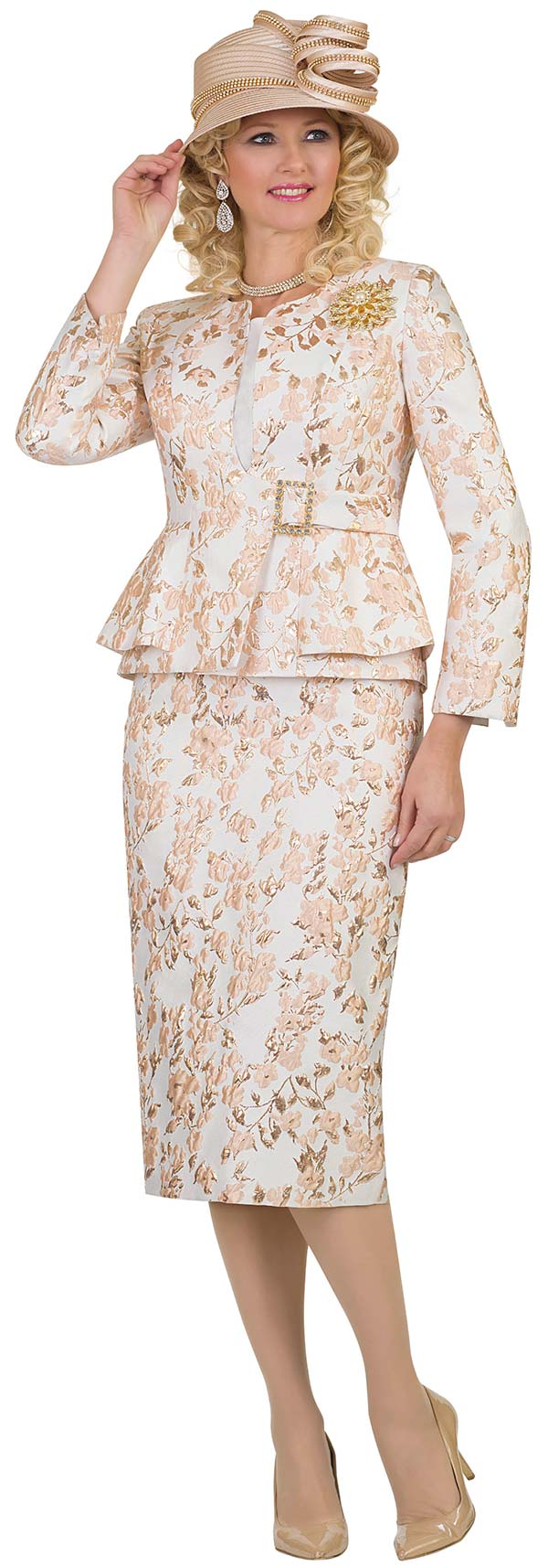 Lily and Taylor 4518-Gold -  Floral Pattern Design Skirt Suit With Peplum Lalyer Jacket