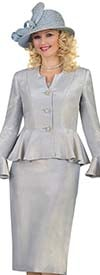Lily and Taylor 4522 - Womens Flounce Cuff Peplum Jacket Church Suit With Pointed Neckline