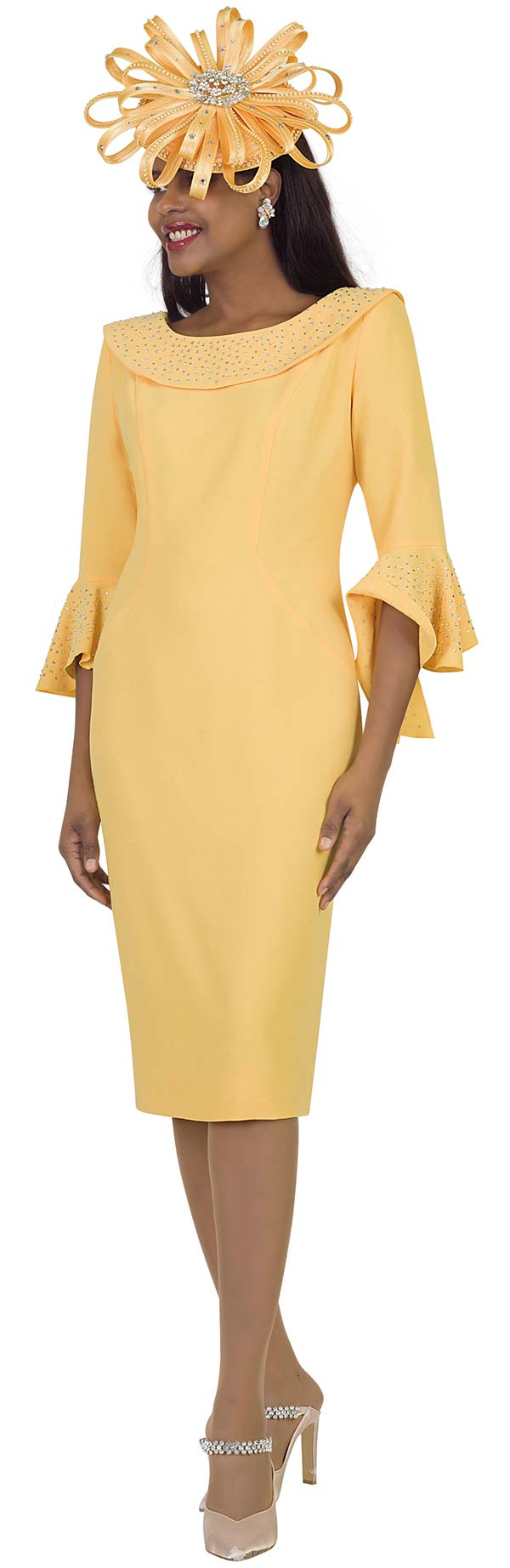 Lily and Taylor 4524-Yellow -  Womens Church Dress With Rhinestone Embellished Portrait Collar And Flounce Cuff Sleeves