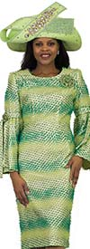 Lily and Taylor 4526-Green - Striped Novelty Textured Fabric Sheath Dress With Bell Sleeves