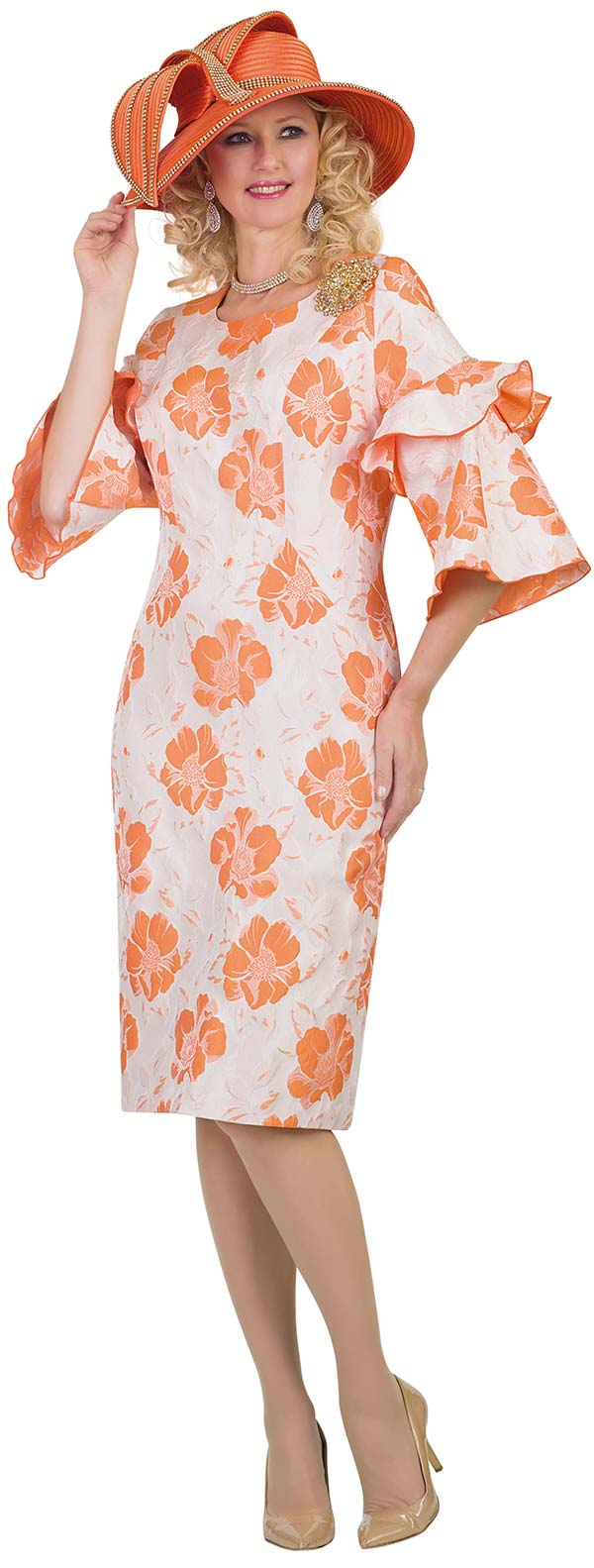 Lily and Taylor 4535-Orange - Sheath Dress In Floral Print Novelty Fabric With Ruffle Flounce Sleeves