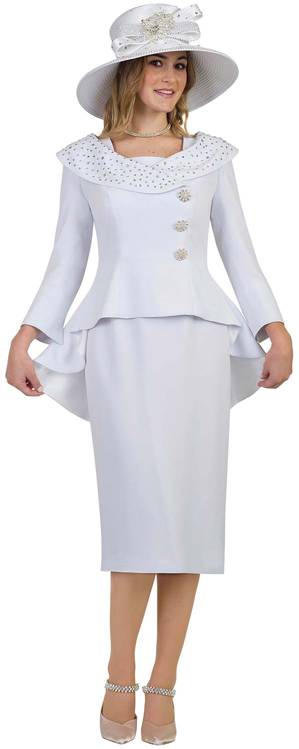 Lily and Taylor 4539-White - French Crepe Fabric Skirt Suit With Portrait Collar Peplum Jacket