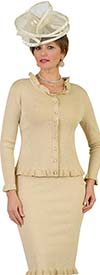Lily and Taylor 659-Gold - Knit Fabric Dress & Jacket Set With Ruffle Trim Design