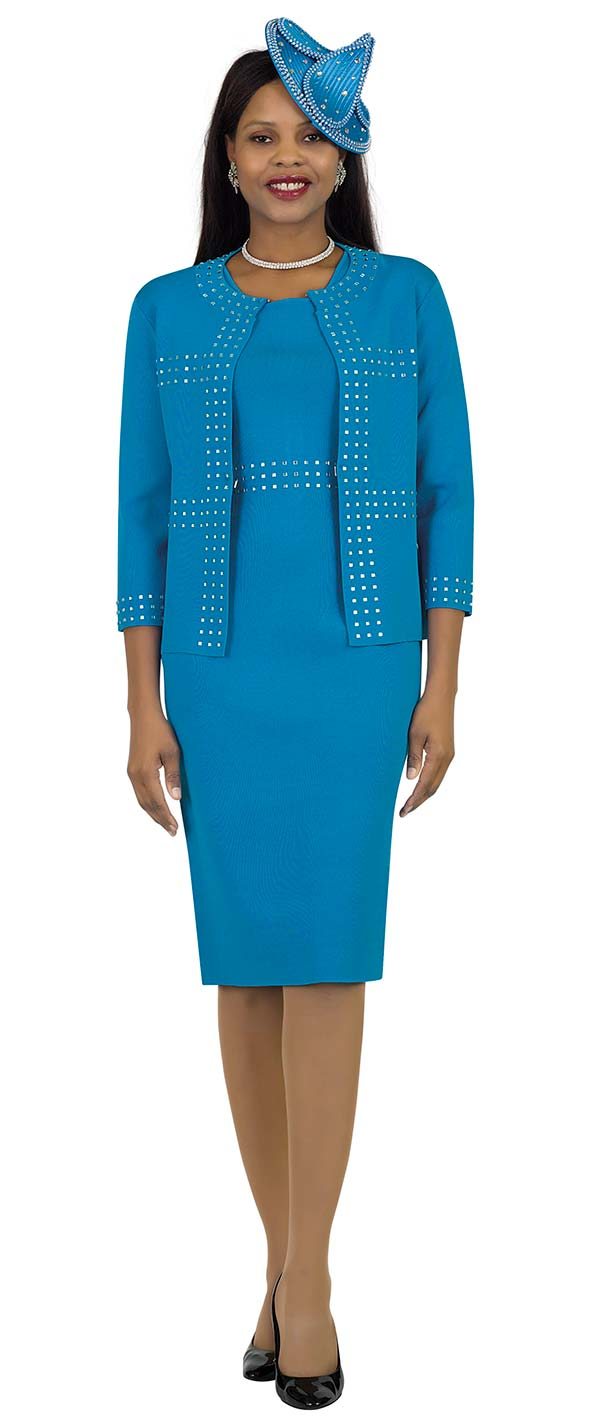 Lily and Taylor 661 - Knit Fabric Dress & Jacket Suit Embellished With Square Beads