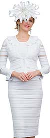 Lily and Taylor 663-White - Alternating Stripe Textured Design Knit Fabric Dress With Ruffle Collar