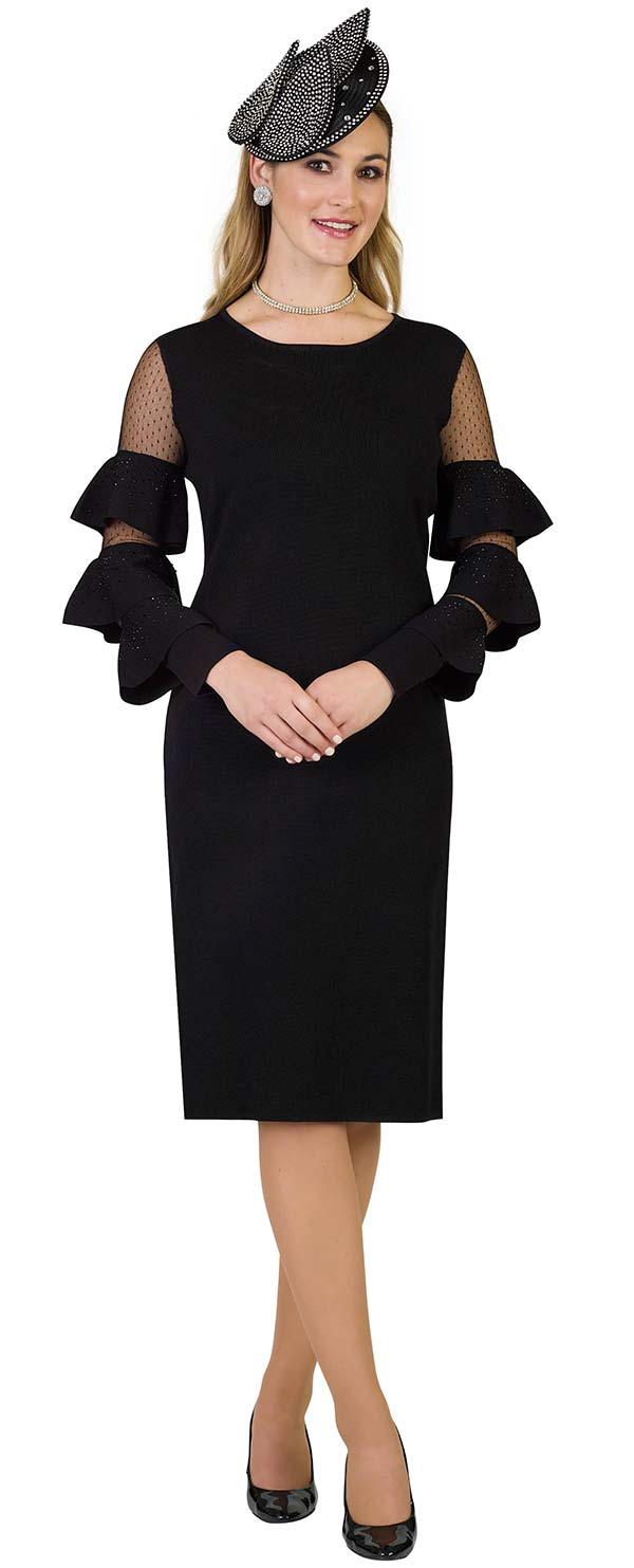 Lily and Taylor 677-Black - Knit Fabric Dress With Mesh & Triple Tier Flounce Sleeves