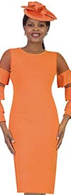 Lily and Taylor 677-Orange - Knit Fabric Dress With Mesh & Triple Tier Flounce Sleeves