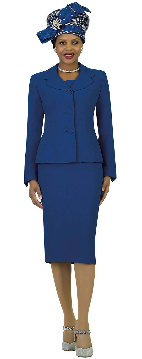 Lily and Taylor 4063-Royal - Poly Crepe Fabric Skirt Suit With Rounded Lapel Jacket