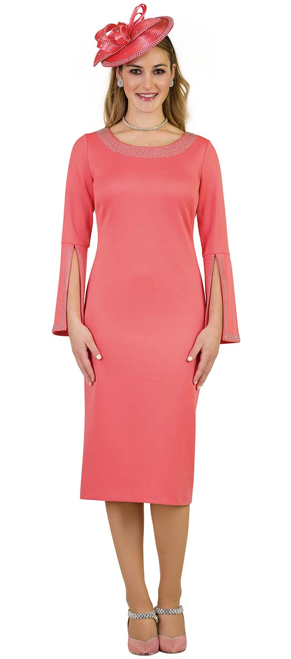 Lily and Taylor 4153 Ponte Knit Womens Church Dress With Embellished Neckline & Split Cuff Sleeves