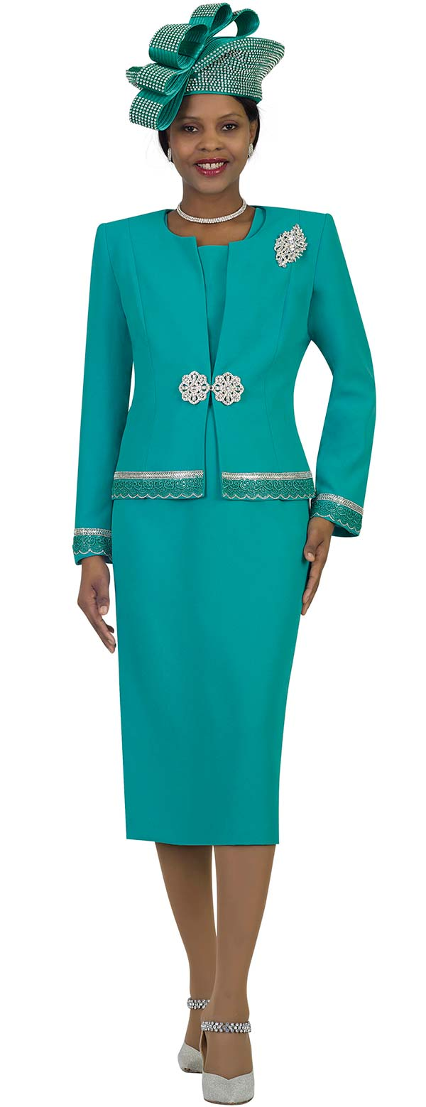 Lily and Taylor 4272-Teal - French Crepe Fabric Skirt Suit With Rhinestones