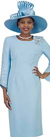 Lily and Taylor 4385-Blue - Rhinestone Embellished Sheath Dress With Angle Cut Sleeves