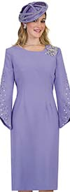 Lily and Taylor 4385-Lavender - Rhinestone Embellished Sheath Dress With Angle Cut Sleeves