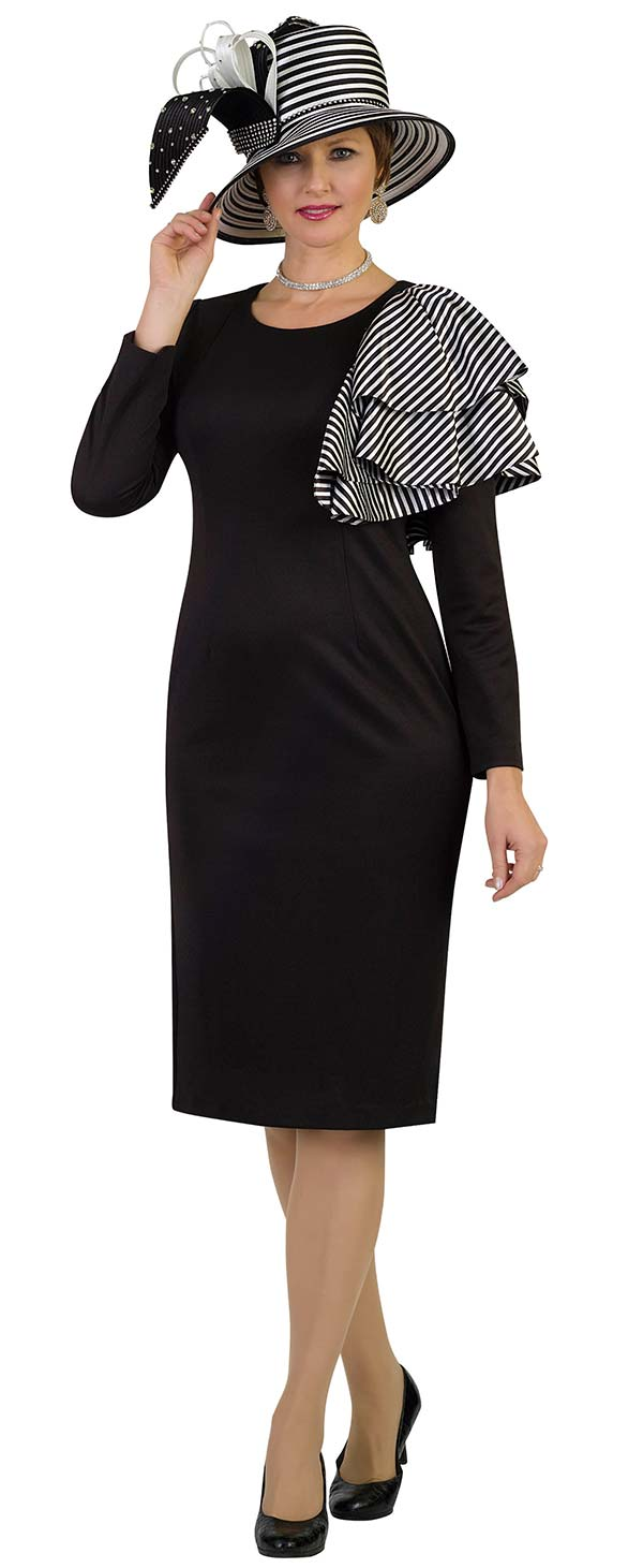 Lily and Taylor 4390 - Sheath Dress With Striped Shoulder Adornment In Ponte Knit Fabric