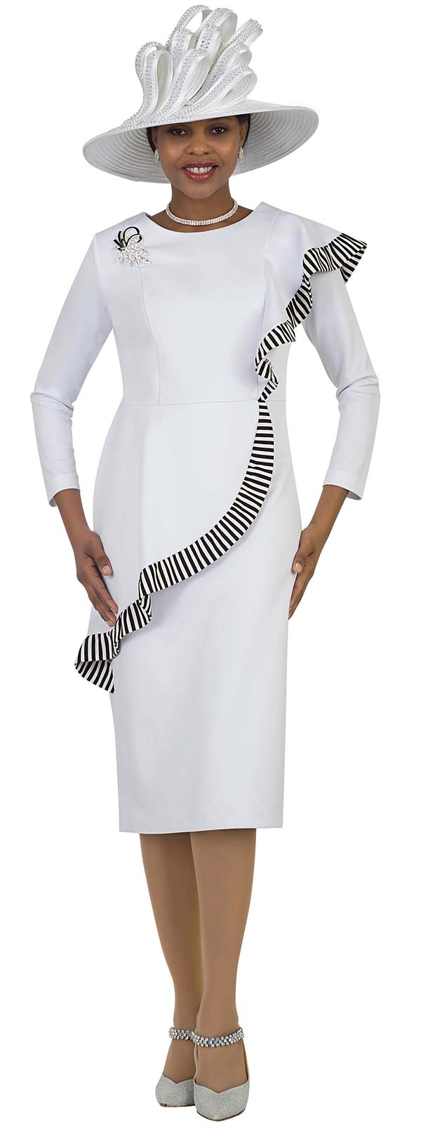 Lily and Taylor 4443-White - Ponte Knit Dress With Striped Ruffle Feature