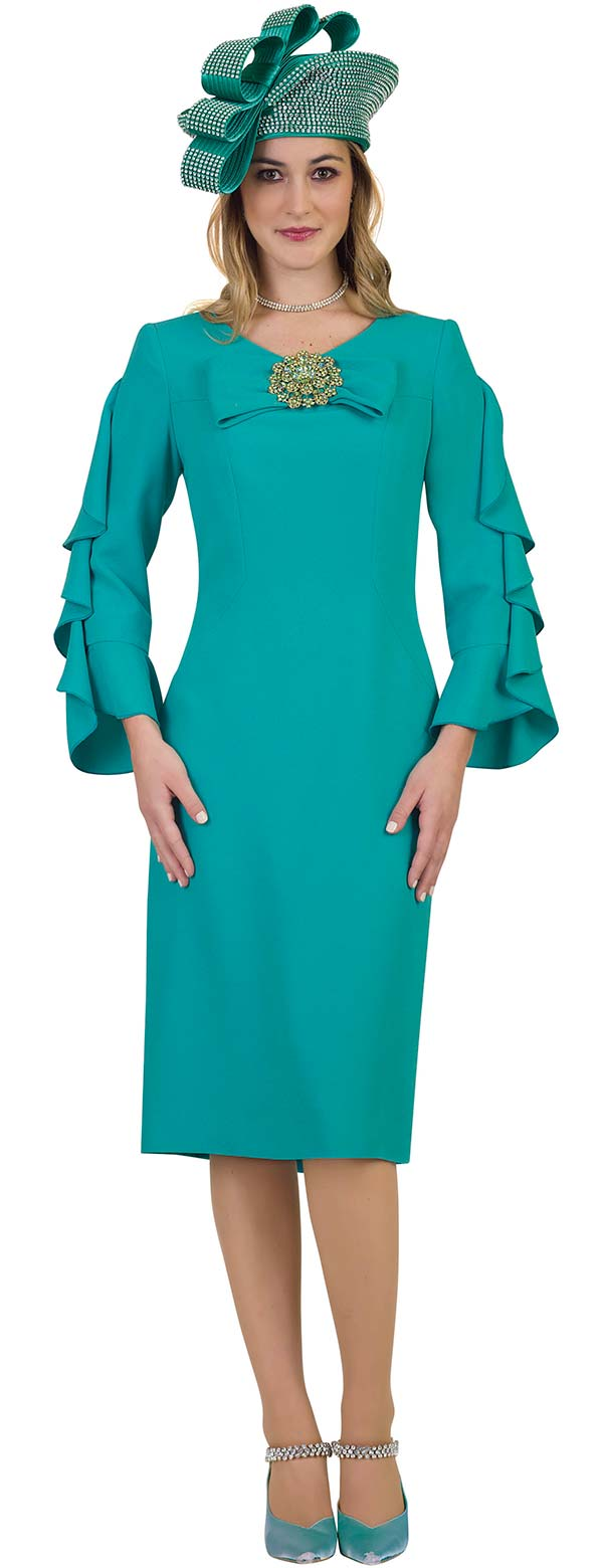 Lily and Taylor 4461-Teal - Sheath Dress With Shoulder Ruffle Detail And Bow Adornment