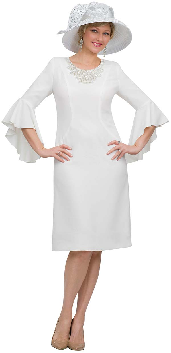 Lily and Taylor 4468 - Flounce Sleeve Church Dress With Stone Embellished Neckline