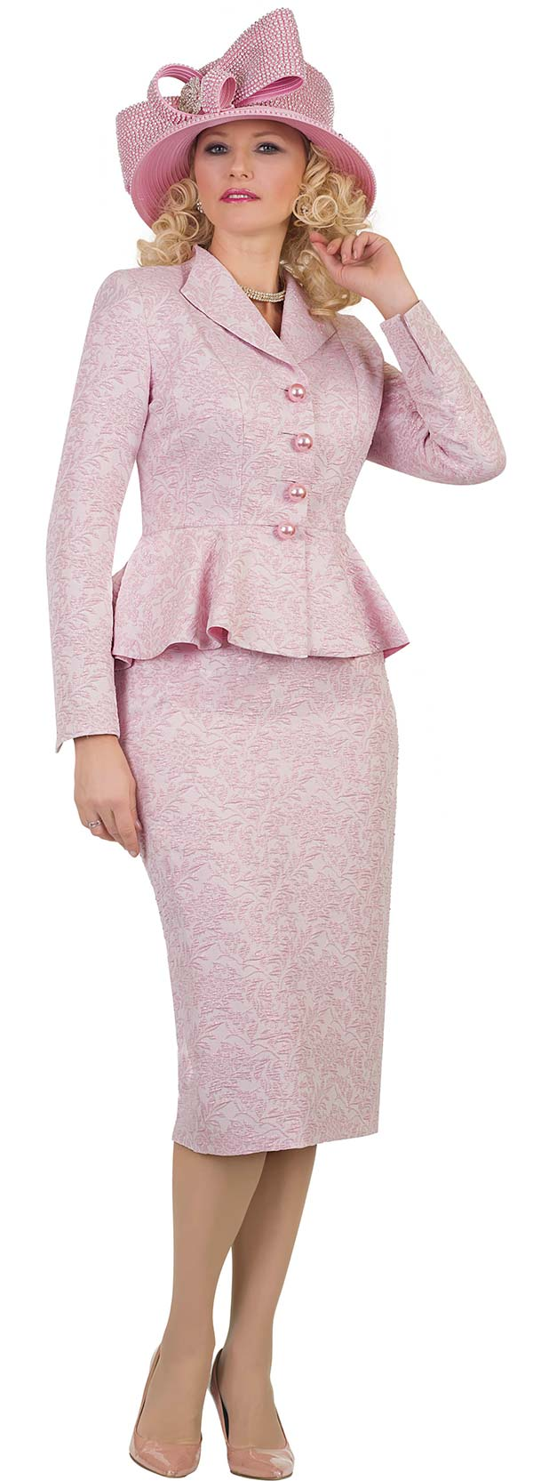Lily and Taylor 4483-Pink -Two Piece Womens Church Suit In Floral Textured Fabric With Wing Lapel Peplum Jacket