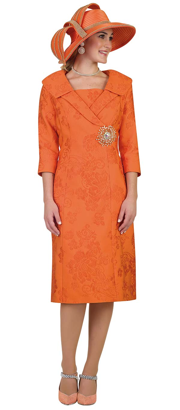 Lily and Taylor 4488-Orange - Novelty Floral Pattern Fabric Dress With Wide Layered Lapels
