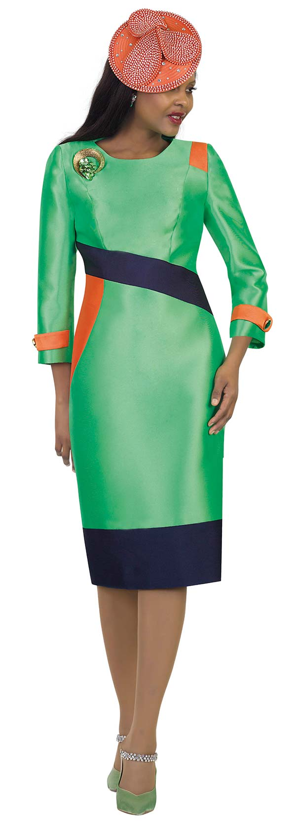 Lily and Taylor 4489-Green - Multi Color Accented Dress With Brooch