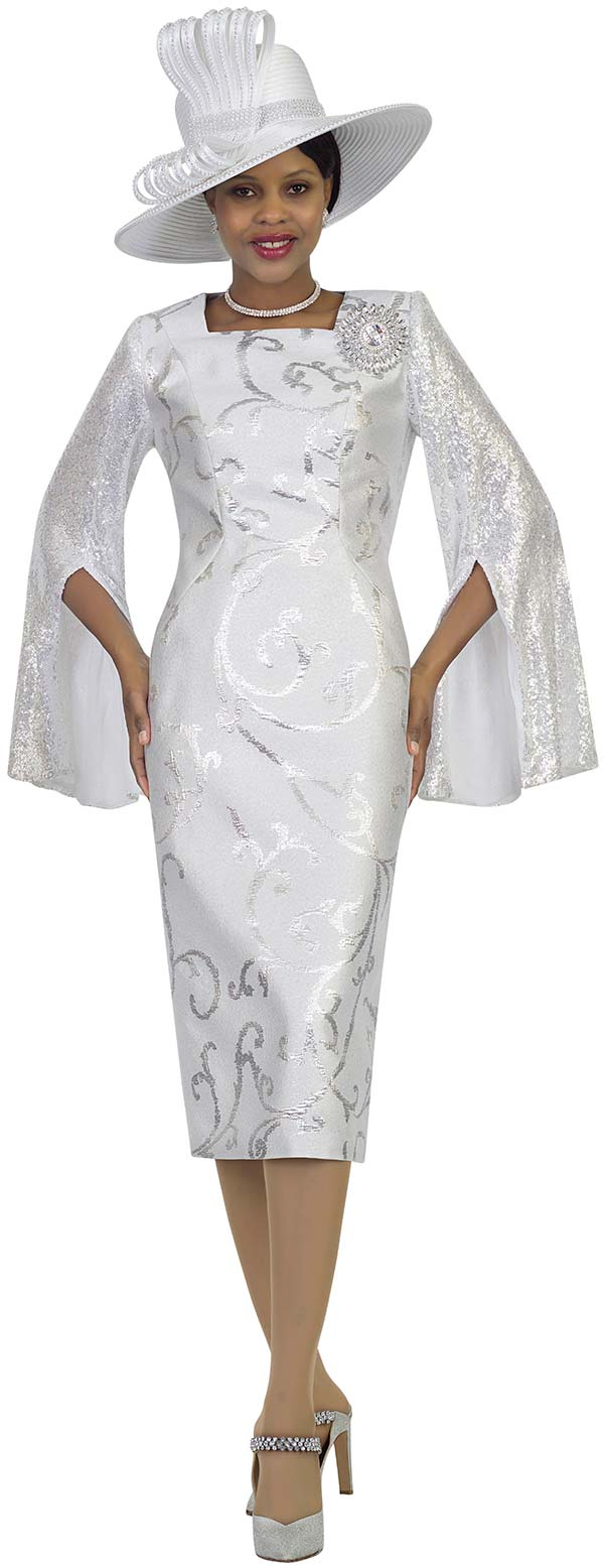 Lily and Taylor 4490-White - First Ladies Sheath Cut Church Dress With Split Bell Sleeve Design