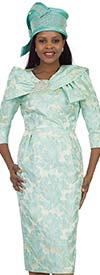 Lily and Taylor 4494-Mint -  Basic Dress In Novelty Fabric With Wrap Collar
