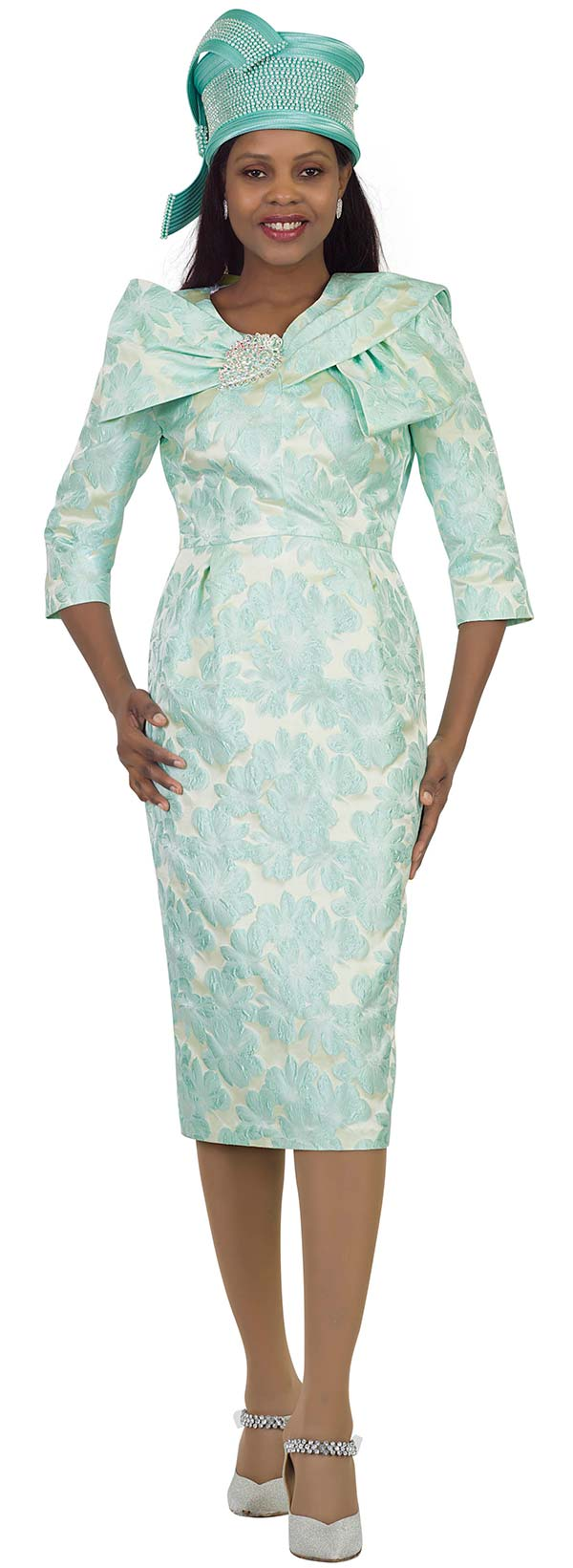 Lily and Taylor 4494-Mint -  Basic Dress In Novelty Fabric With Wrap Collar Dress
