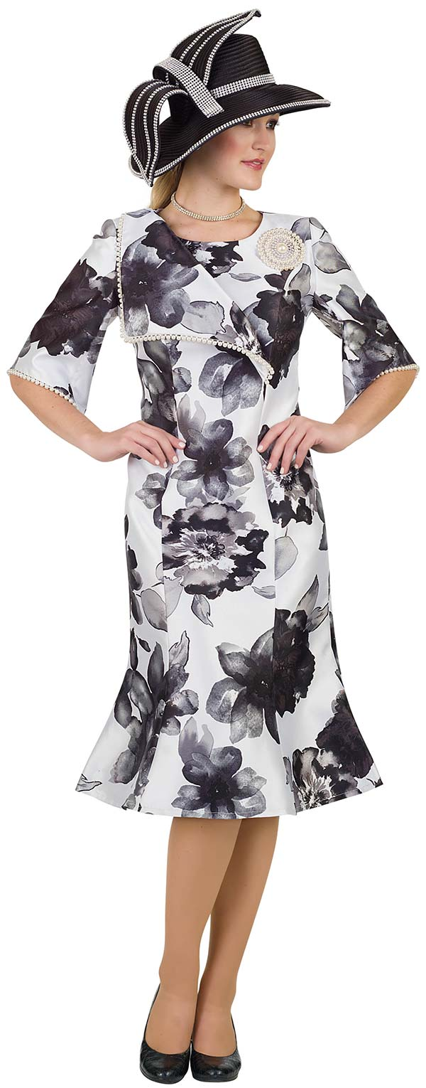 Lily and Taylor 4521 -  Silky Twill Floral Print Flared Church Dress With Pearl Trim