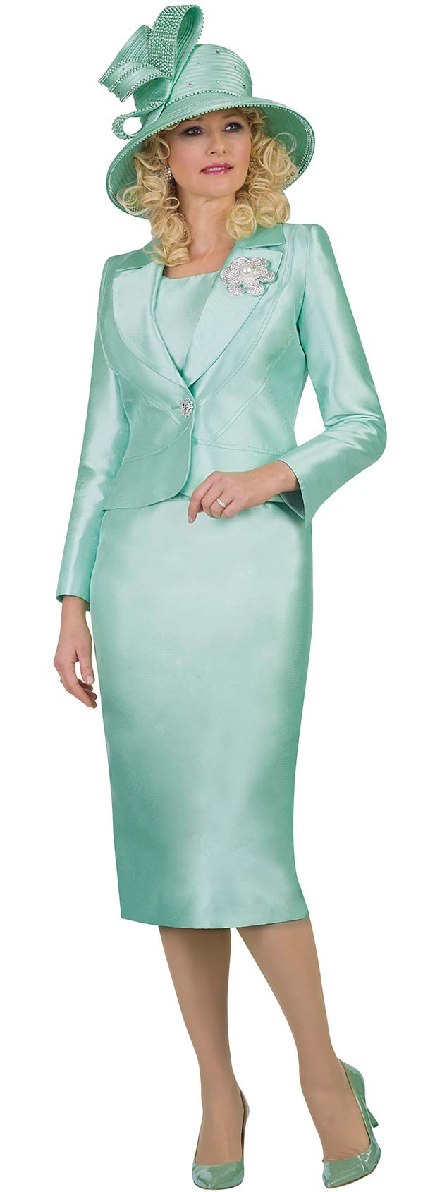 Lily and Taylor 4542-Mint -  Three Piece Womens Chuch Suit With Notch Lapel Jacket