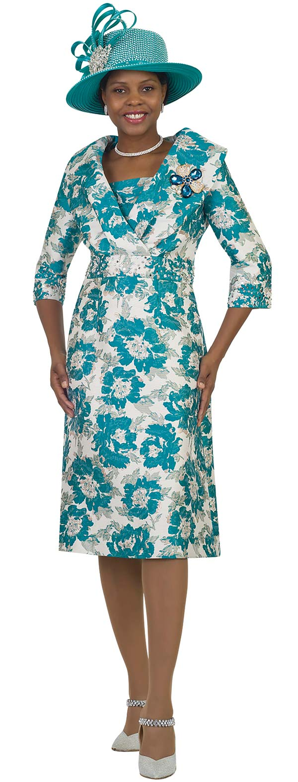 Lily and Taylor 4550-Teal - Floral Print Rhinestone Embellished Church Dress With Over Shoulder Collar Design