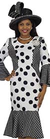 Lily and Taylor 4551 - Striped Flounce Dress With Blurred Polka Dot Design
