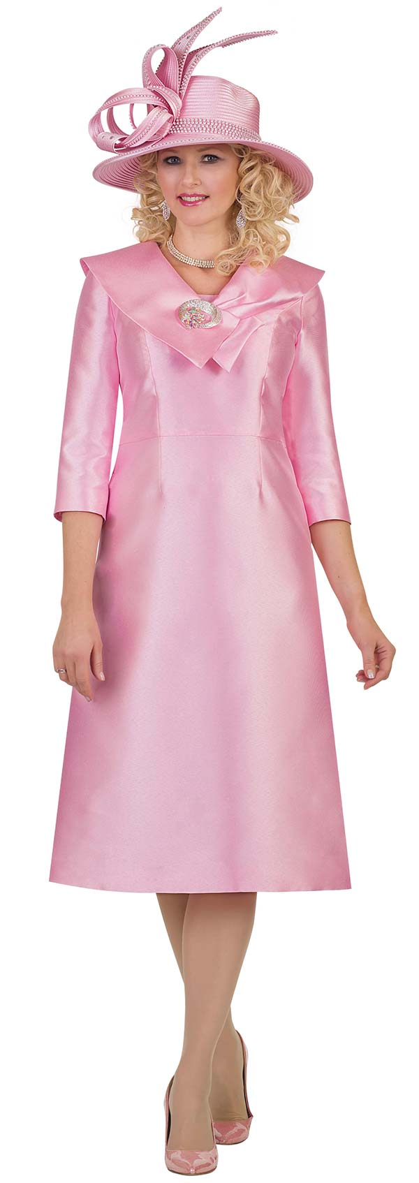 Lily and Taylor 4552-Pink - Basic Church Dress WIth Wide Over Shoulder Collar