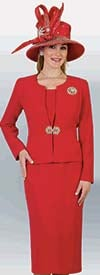 Lily and Taylor 3052 - Womens Classic Three Piece Church Suit With Brooch