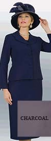 Lily and Taylor 4063-Charcoal - Basic Skirt Suit With Rounded Lapel Jacket