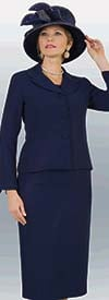 Lily and Taylor 4063-Navy - Basic Skirt Suit With Rounded Lapel Jacket