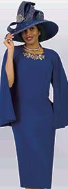 Lily and Taylor 4091-Royal - Cape Design Church Dress In With Multi Color Neckline Embellishment