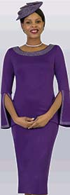 Lily and Taylor 4153-Purple - Ponte Knit Womens Church Dress With Embellished Neckline & Split Cuff Sleeves