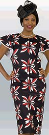 Lily and Taylor 4157 - Floral Print Ponte Knit Fabric Dress With Short Ruffled Sleeves