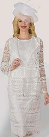 Lily and Taylor 4253 - Womens Crinkle Lace Skirt Suit With Wing Lapels