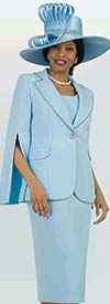 Lily and Taylor 4334-Blue - Womens Three Piece French Crepe Fabric Skirt Suit With Split Sleeves & Beaded Trim