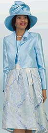 Lily and Taylor 4369-Blue - Womens Three Piece Pleated Skirt Suit With Multi Print Design