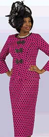 Lily and Taylor 4380-Fuchsia - Two Piece Novelty Skirt Suit In Polka Dot Print Design