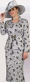 Lily and Taylor 4388-Silver - Three Piece Multi Floral Print Skirt Suit
