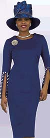 Lily and Taylor 4389-Royal - Ponte Knit Womens Church Dress With Embellished Split Cuff Sleeves