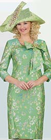 Lily and Taylor 4394-Green - Bow Adorned Sheath Dress In Floral Pattern