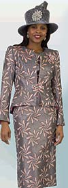 Lily and Taylor 4408 - Skirt Suit With Spiral Leaf Print Pattern Design