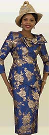 Lily and Taylor 4421-Royal -  Novelty Brocade Look Church Suit With Bow Adornment Feature