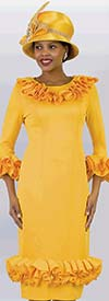Lily and Taylor 4430-Yellow - Sheath Dress With Ruffle Trims In Ponte Knit Fabric